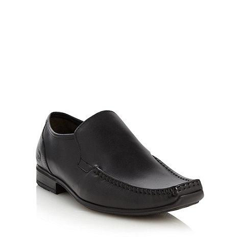 Base London - Black leather square apron toe shoes