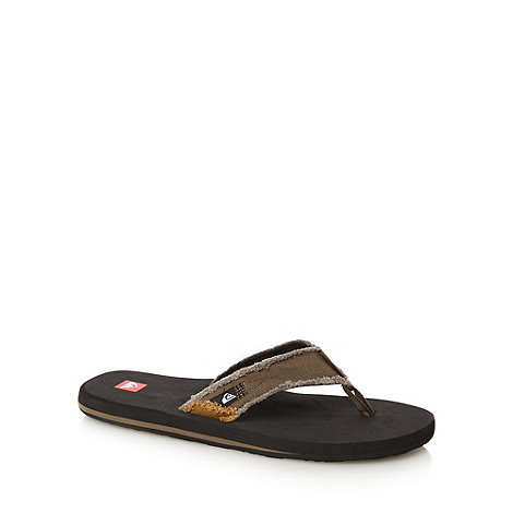 Quiksilver - Brown raw canvas strap flip flops
