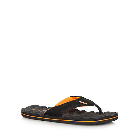 Animal - Black mesh rippled sole flip flops