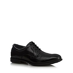 Hush Puppies - Black leather stitched  lace up shoes