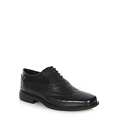 Hush Puppies - Black leather punched hole lace up shoes