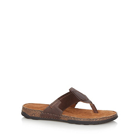 Mantaray - Brown leather thong sandals