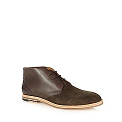 H By Hudson - Brown suede lace up ankle boots