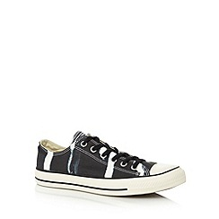 Converse - Black canvas bleached lace up trainers