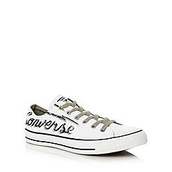 Converse - White canvas branded lace up trainers