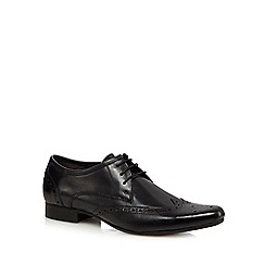 Red Herring - Black leather punched hole pointed brogues