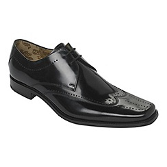 Loake - Black leather puncture work shoes