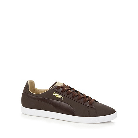 Puma - Brown +Modern Court+ leather trainers