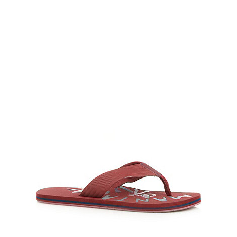 Mantaray - Red fabric strap flip flops