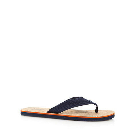 Mantaray - Navy canvas toe post strap flip flops