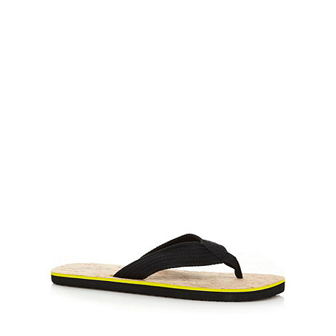 Mantaray - Black canvas toe post strap flip flops