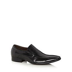 Jeff Banks - Designer black leather tramline stitched slip on shoes
