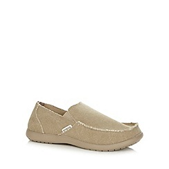 Crocs - Khaki raw edge canvas slip on shoes