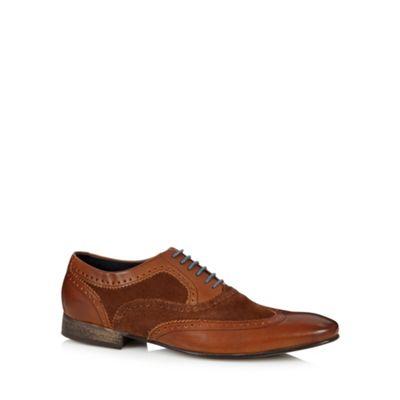 Base London Tan leather mix brogues - . -
