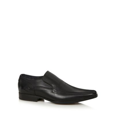 Base London Black leather tramline slip on shoes - . -