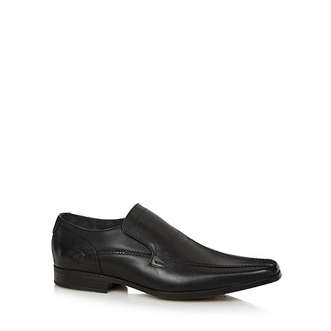 Base London - Black leather tramline slip on shoes