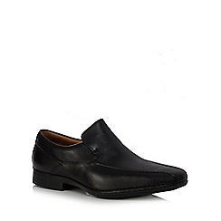 Clarks - Big and tall black 'Francis Flight' leather slip on shoes