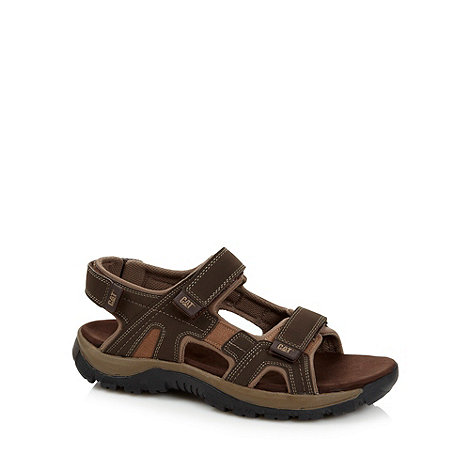 Caterpillar - Brown leather rip tape sandals