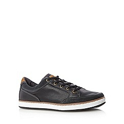 Mantaray - Black perforated suede trim lace up trainers