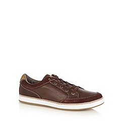 Mantaray - Chocolate perforated suede trim lace up trainers