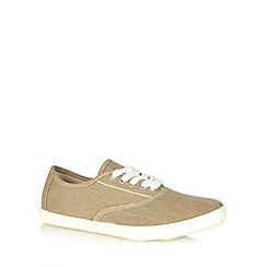 Red Herring - Beige woven lace up plimsolls