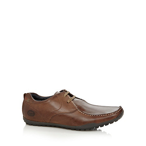 Base London - Brown leather lace up stitched shoes