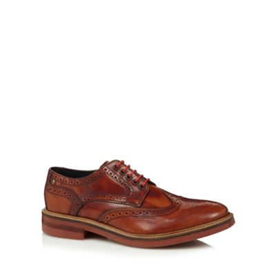 Base London Tan leather punched hole brogues - . -