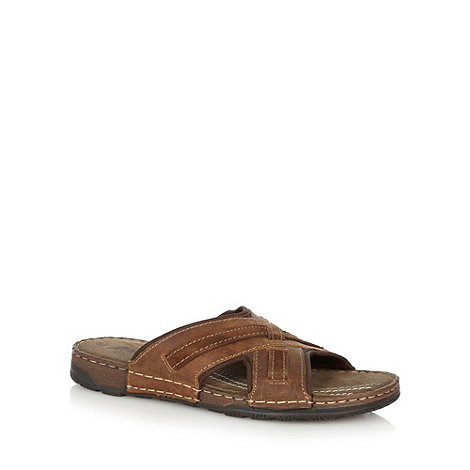 Mantaray - Tan leather cross strap mule sandals