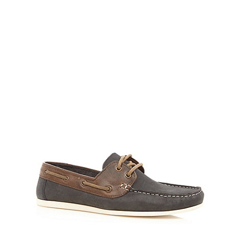 Red Herring - Black leather boat shoes