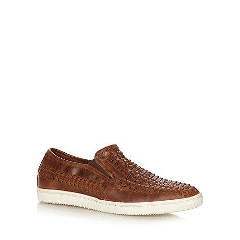 Red Herring - Tan leather weaved slip on loafers