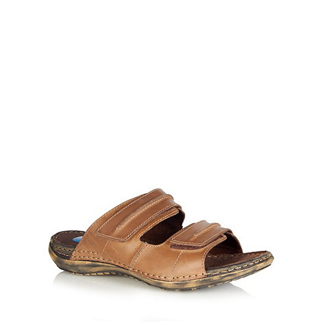 Henley Comfort - Tan leather rip tape mule sandals