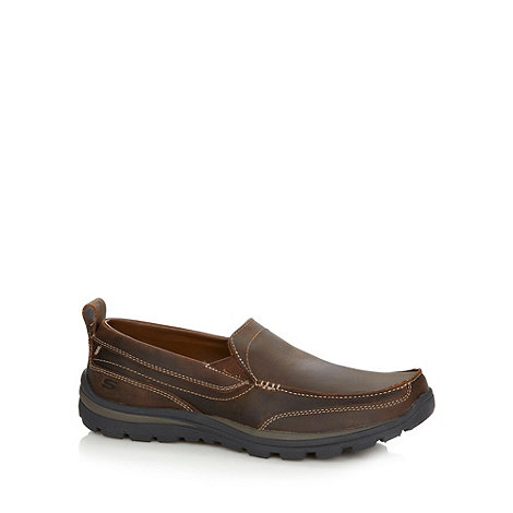 Skechers - Brown leather +Superior Gains+ slip on shoes