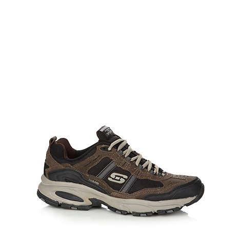 Skechers - Brown leather +Advanrage+ trainers