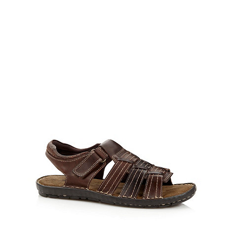 Mantaray - Chocolate leather stitch strap sandals