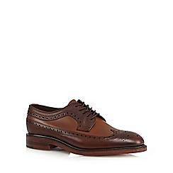 Loake - Big and tall brown leather panel brogues
