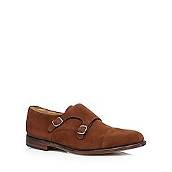 Loake - Big and tall tan suede double buckle shoes