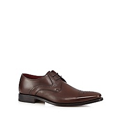 Loake - Big and tall brown leather punched hole shoes
