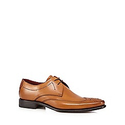 Loake - Tan leather punched hole shoes