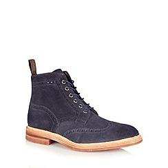 Loake - Navy suede punched hole ankle boots