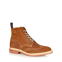 Loake - Tan suede punched hole ankle boots