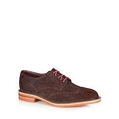 Loake - Brown suede punched hole wing toe shoes