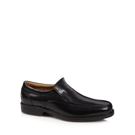 Henley Comfort - Black leather comfort slip on shoes