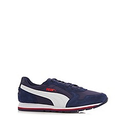 Puma - Navy leather 'ST Runner' trainers