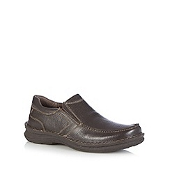 Hush Puppies - Dark brown leather slip on shoes