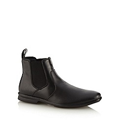 Hush Puppies - Black leather panel stitched ankle boots