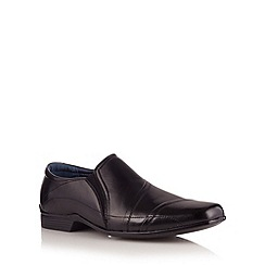 Hush Puppies - Black leather toe cap slip on shoes