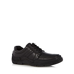 Hush Puppies - Black leather textured trim lace up shoes