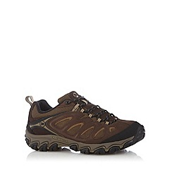 Merrell - Brown suede panel walking trainers