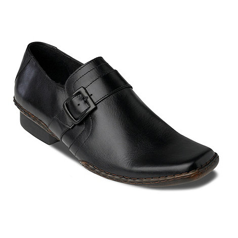 Red Herring - Black Sprackling buckle slip on shoes