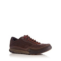 Merrell - Brown suede stitched panel trainers